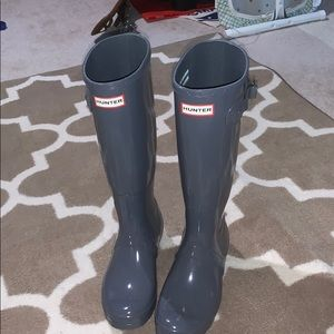 Glossy Grey Hunter Boots- regular calf- size 38